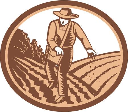 siembra: Ilustración de agricultor orgánico con semillas de siembra bolso satchel en campo de cultivo establecidas dentro óvalo hecho en estilo retro grabado en madera. Vectores