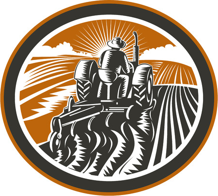 Illustration of a farmer worker driving a vintage tractor plowing farm field set inside oval shape done in retro woodcut style on isolated background. Vettoriali