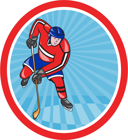 ice hockey player: Illustration of an ice hockey player with hockey stick set inside oval shape done in cartoon style.