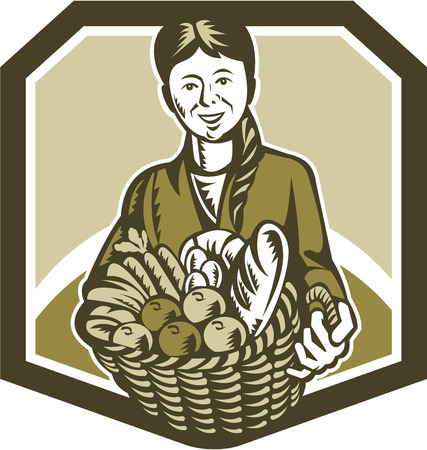 horticulturist: Illustration of female organic farmer gardener horticulturist with basket full of crop harvest, fruits and vegetables set inside shield done in retro woodcut style.