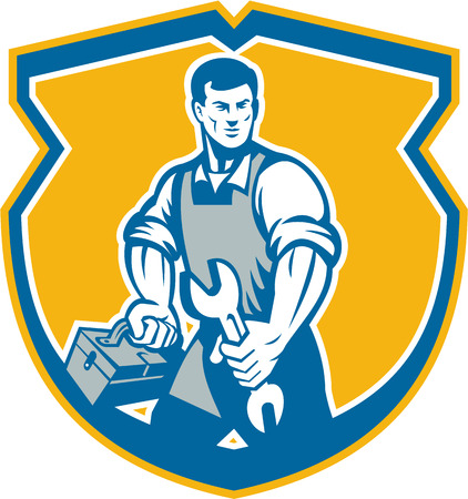 facing: Illustration of a mechanic with spanner wrench carrying toolbox facing front set inside crest shield on isolated background done in retro style. Illustration