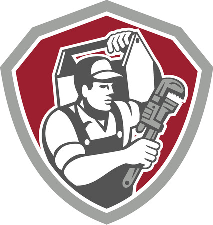 handyman: Illustration of a plumber carrying toolbox on shoulder and holding monkey wrench set inside shield facing side done in retro style on isolated background.