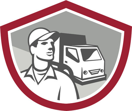 moving truck: Illustration of a removal man delivery guy with moving truck van in the background set inside shield on isolated background done in retro style. Illustration