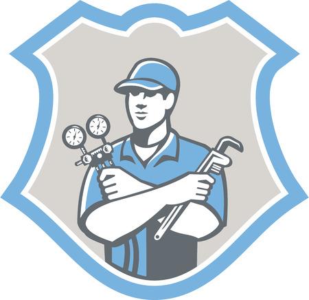 Illustratie van een koeling en airconditioning monteur met een druk temperatuurmeter en ac spruitstuk wrench vooraanzicht ingesteld binnen schild op geïsoleerd op achtergrond gedaan in retro stijl Stock Illustratie