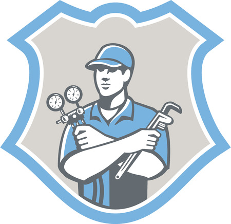 Illustration of a refrigeration and air conditioning mechanic holding a pressure temperature gauge and ac manifold wrench front view set inside shield on isolated on background done in retro style Vectores