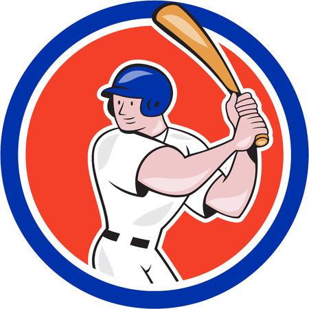 bateo: Ilustraci�n de un jugador de b�isbol bateador bateo con el bate bateador americano hecho en estilo de dibujos animados conjunto dentro del c�rculo aislado sobre fondo blanco.