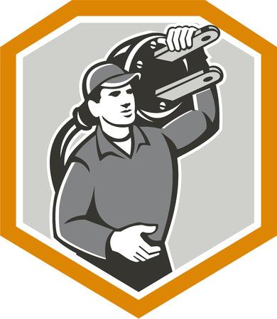 plug electric: Ilustraci�n de un trabajador electricista con enchufe el�ctrico que lleva sobre el hombro hacia delante conjunto dentro de escudo protector en el fondo aislado hecho en estilo retro.
