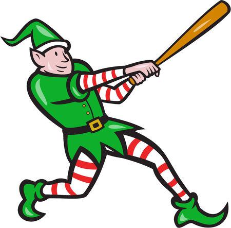 bateo: Ilustraci�n de un jugador de b�isbol bateador bateo con el bate bateador elf hecho en estilo de dibujos animados aislado en el fondo blanco.