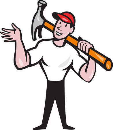 construction worker cartoon: Illustration of a carpenter builder construction worker with hammer looking to side set inside circle done in cartoon style.