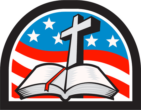 bible background: Illustration of a bible and cross with American stars and stripes flag in background done in retro style.