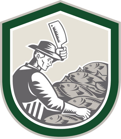 Illustration of a butcher fishmonger worker fish facing side chopping fish with meat cleaver set inside shield on isolated background done in retro woodcut style. Vector