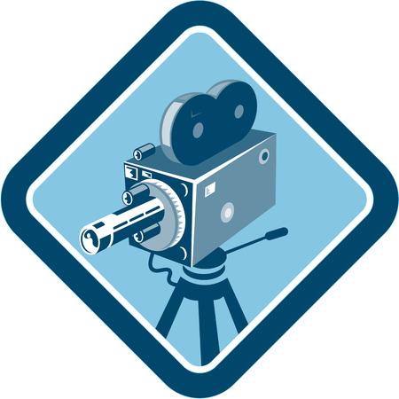 flauta dulce: Ilustración de una cámara de película de película de época situada en el interior en forma de diamante hecho en estilo retro grabado en madera. Vectores