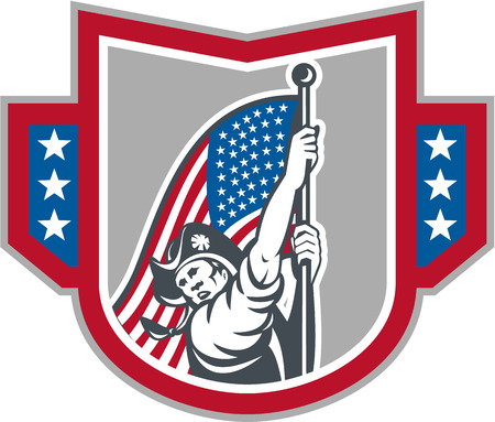 Illustration of an American Patriot brandishing holding up a stars and stripes  flag set inside crest shield on isolated white background. Vector