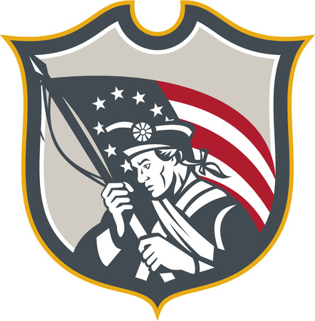 american revolution: Illustration of an American Patriot holding a USA Betsy Ross flag set inside crest shield on isolated white background done in retro style.
