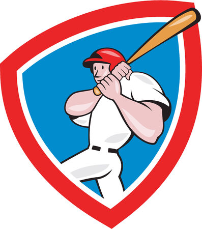 hitter: Illustration of an american baseball player batter hitter batting with bat done in cartoon style set inside red crest shield isolated on white background.