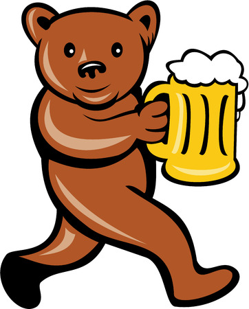 Illustration of a brown bear holding a beer mug running viewed from side done in cartoon style set on isolated background. Vector
