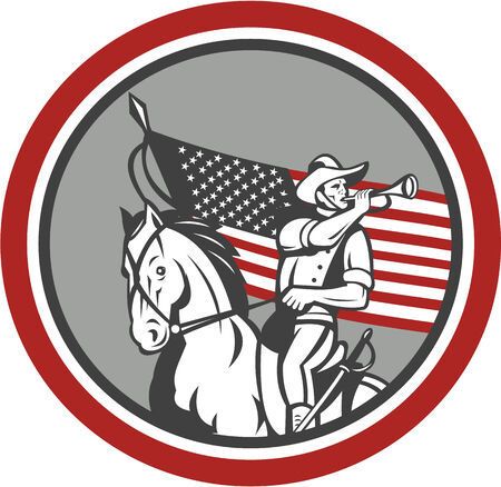 cavalry: Illustration of an American cavalry soldier riding horse on blowing a bugle set inside circle with USA stars and stripes flag in background done in retro style.