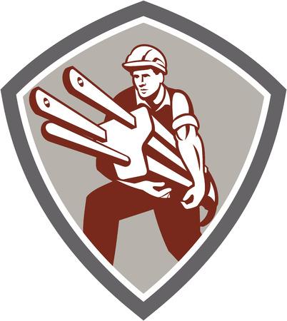 plug electric: Ilustraci�n de un trabajador electricista con enchufe el�ctrico frente al frente fij� dentro cresta escudo sobre fondo aislado hecho en estilo retro. Vectores