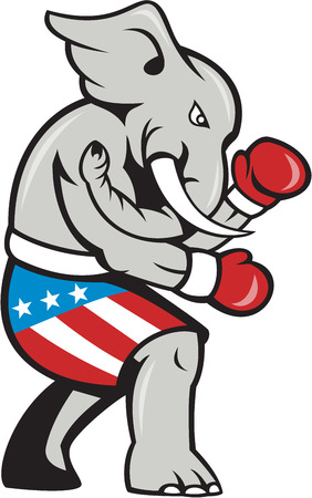 republican: Ilustraci�n de una mascota del elefante republicano boxeador boxeo con guantes, vista desde el lado en el fondo aislado hecho en estilo de dibujos animados. Vectores