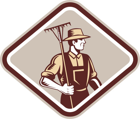 Illustration of organic farmer with rake facing side set inside diamond shape done in retro woodcut style.
