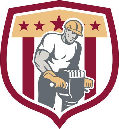 presslufthammer: Illustration von einem Bauarbeiter mit Presslufthammer Presslufthammer Bohr Aushubarbeiten im Schild im retro-Stil getan. Illustration