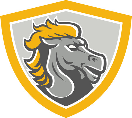 bronco: Illustration of a grey bronco horse head set inside shield crest on isolated white background done in retro style. Illustration