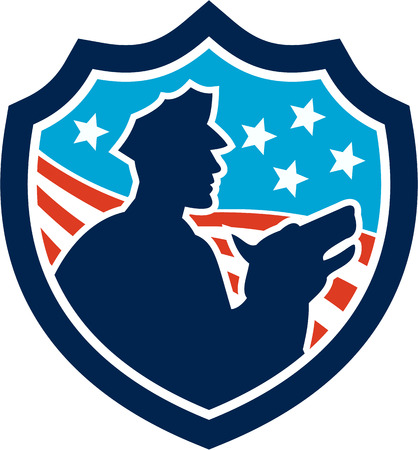 Illustration of a silhouette of a policeman security guard with police dog with American stars and stripes set inside shield done in retro style. Vector