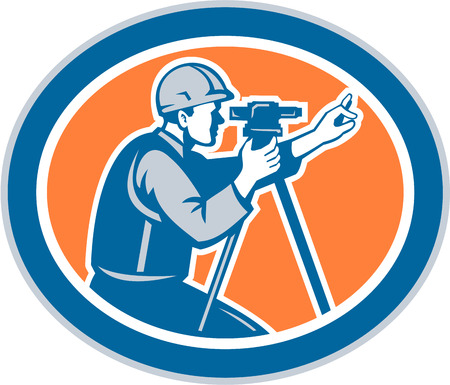 civil engineers: Illustration of a surveyor geodetic engineer looking thru total station theodolite instrument surveying viewed from side set inside oval shape done in retro style. Illustration