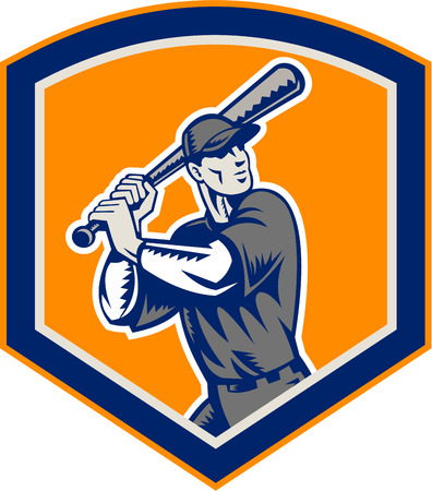 Illustration of a american baseball player batter hitter batting set inside shield shape done in retro woodcut style isolated on background. Vector
