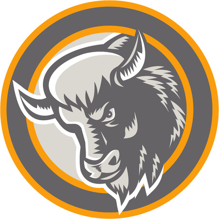 Illustration of an angry American buffalo bison bull head facing to side set inside circle done in retro woodcut style on isolated background.