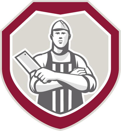Illustration of a butcher cutter worker with meat cleaver knife facing front set inside shield crest on isolated background.