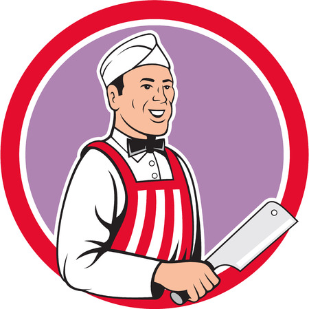 Illustration of a butcher cutter worker with meat cleaver knife facing side set inside circle on isolated background done in cartoon style. Vector