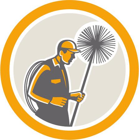 Illustratie van een schoorsteenveger bedrijf veger en touw van opzij gezien set binnen cirkel op geïsoleerde achtergrond gedaan in retro stijl.
