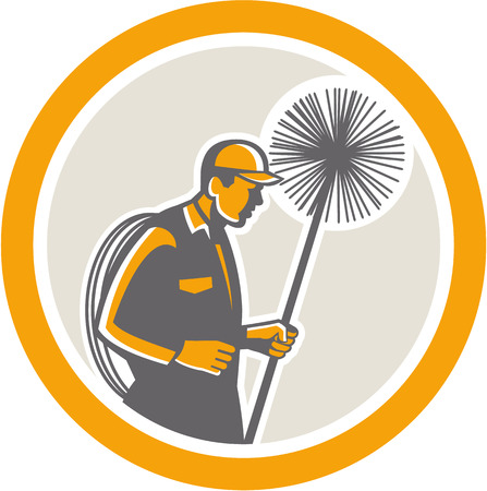Illustration of a chimney sweep holding sweeper and rope viewed from side set inside circle on isolated background done in retro style. Illustration