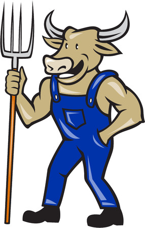 Illustration of farmer cow bull facing front laughing holding a pitch fork facing side done in cartoon style. Vector