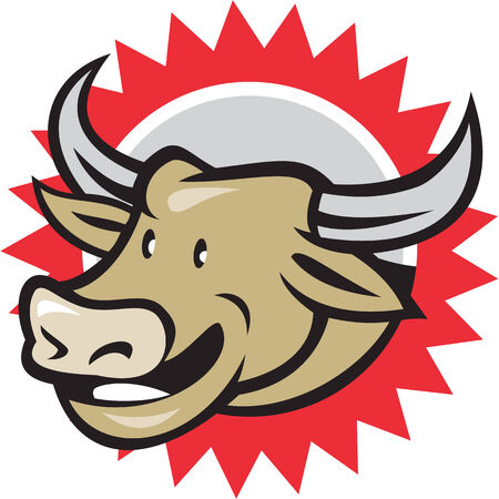 Illustration of laughing cow bull head facing to side on isolated background done in cartoon style. Vector