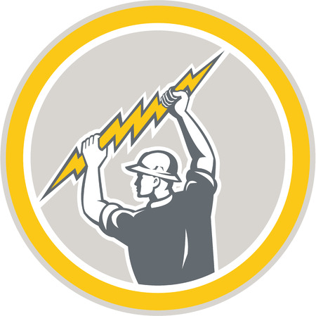 Illustration of an electrician construction worker holding a lightning bolt set inside circle done in retro style on isolated white background. Vector
