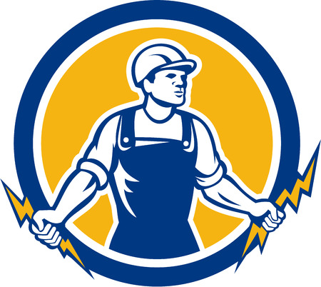 Illustration of an electrician construction worker holding two lightning bolts set inside circle done in retro style on isolated white background. Vector