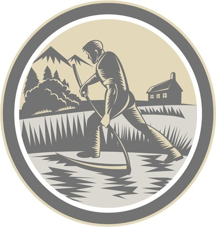 reaping: Illustration of an organic farmer farm worker reaping harvesting field using scythe inside oval shape on isolated background done in retro woodcut style.