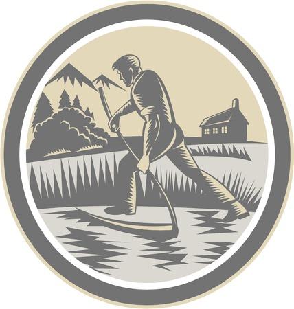 guadaña: Ilustración de un trabajador agrícola agricultor orgánico cosechando campo de la recolección con guadaña en el interior de forma ovalada en el fondo aislado hecho en estilo retro grabado en madera.