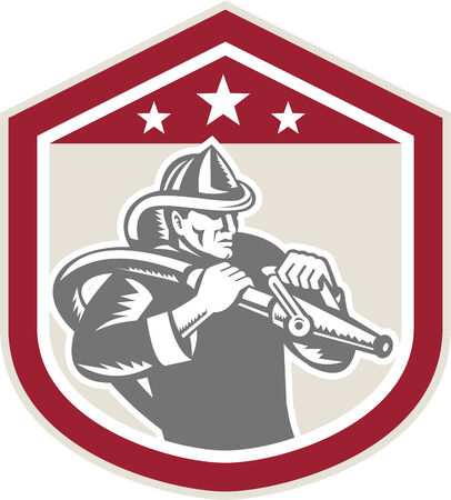 Illustration of a fireman fire fighter emergency worker with fire hose set inside shield crest shape done in retro woodcut style on isolated background.