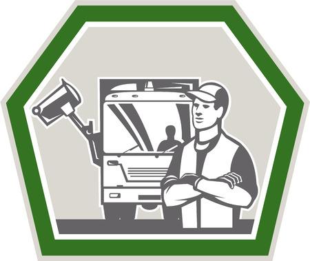 recolector de basura: Ilustración de un recolector de basura con camiones de basura en el fondo de la recogida de residuos situada en el interior forma de escudo hecho en estilo retro. Vectores
