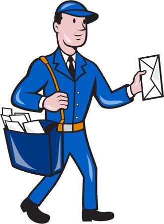 cartero: Ilustraci�n de un trabajador de la entrega cartero cartero que entrega la entrega de paqueter�a conjunto de la correspondencia en el fondo aislado hecho en estilo de dibujos animados.