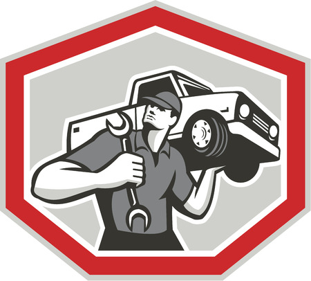 mechanic man: Illustration of an automotive mechanic carrying pick-up truck car vehicle on shoulder holding spanner wrench set inside shield crest shape done in retro style. Illustration