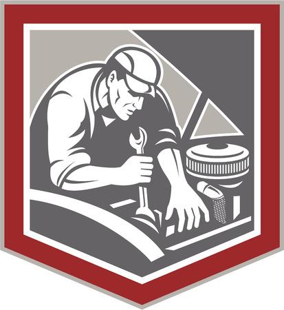 Illustratie van een auto monteur repareren van auto-voertuig met behulp van moersleutel set binnen schild kuif vorm gedaan in retro-stijl houtsnede stijl.
