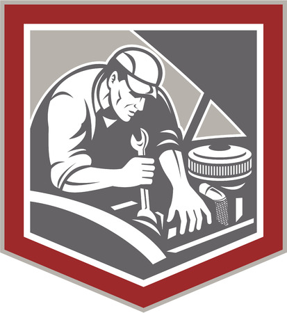 Illustration of a car mechanic repairing automobile vehicle using spanner wrench set inside shield crest shape done in retro woodcut style style. Illustration