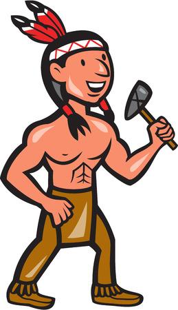 chieftain: Illustrazione di un capo indiano nativo americano visto da davanti in possesso di un tomahawk fatto in stile cartone animato su sfondo bianco isolato. Vettoriali