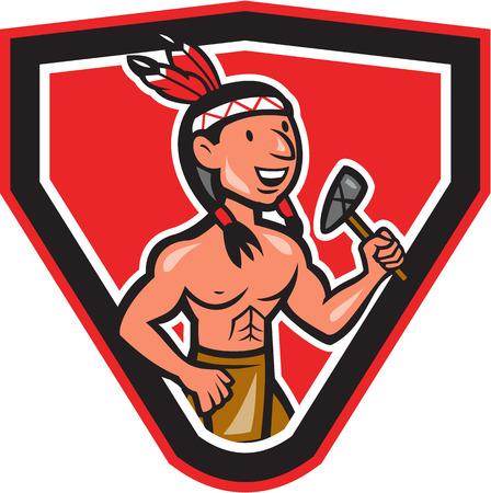 chieftain: Illustrazione di un capo indiano nativo americano visto da davanti in possesso di un tomahawk posto all'interno stemma scudo fatto in stile cartone animato su sfondo bianco isolato.