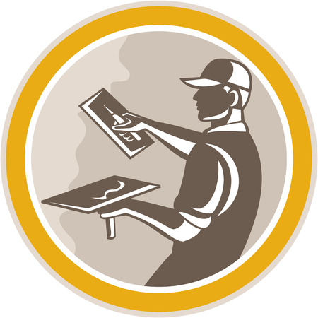 plasterer: Illustration of a plasterer masonry tradesman construction worker with trowel done in retro woodcut style set inside circle on isolated background,