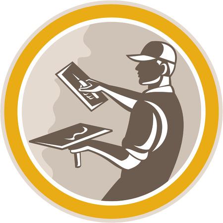 Ilustración de un trabajador de la construcción de mampostería yesero comerciante con llana hecho en estilo retro grabado conjunto dentro del círculo en el fondo aislado,